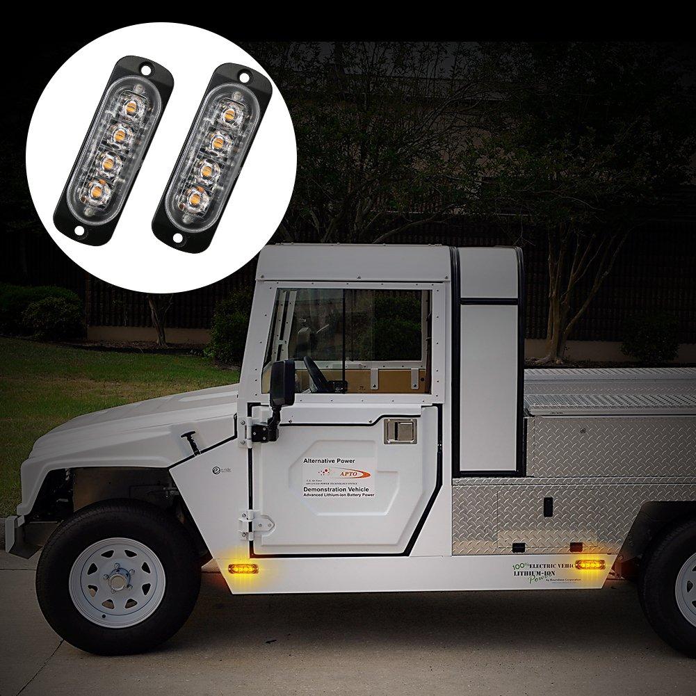 Ralbay LED Strobe Light 2Pcs Super Thin 6-LED Amber 19-Flashing Mode Car Truck Warning Caution Emergency Construction Strobe Light Bar