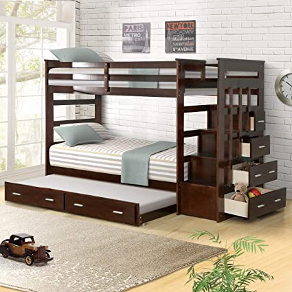 Amazon Com Wood Bunk Bed For Kids Twin Over Twin Bunk Bed Frame With Trundle And Staircase Espresso Finish Kitchen Dining
