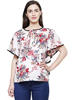891f5bf806e FLICKZON Women White Flower Printed Butterfly Sleeve Western wear top with Plus  Size Tops