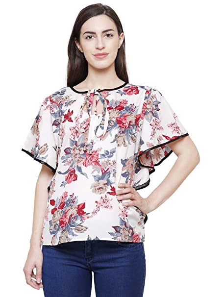 c685e6062e5 FLICKZON Women White Flower Printed Butterfly Sleeve Western wear top with Plus  Size Tops  Amazon.in  Clothing   Accessories