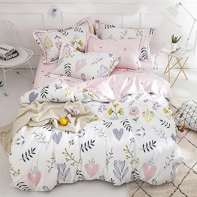 0f63c11b3544 BuLuTu Floral Love Print Girls Duvet Cover Twin White Pink Cotton Premium  Blossom Kawaii Reversible Colorful Kids Bedroom