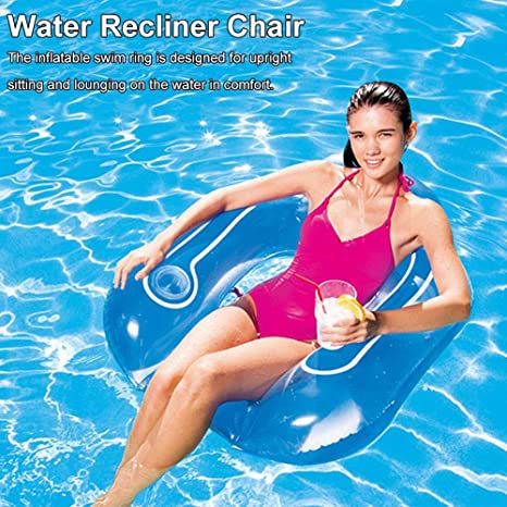 Inflatable Pool Chair Floats and Lounge in Water, Swimming Pool Water Backrest Recliner Chair Comfortable Floating Hammock Swim Ring with Cup Holder