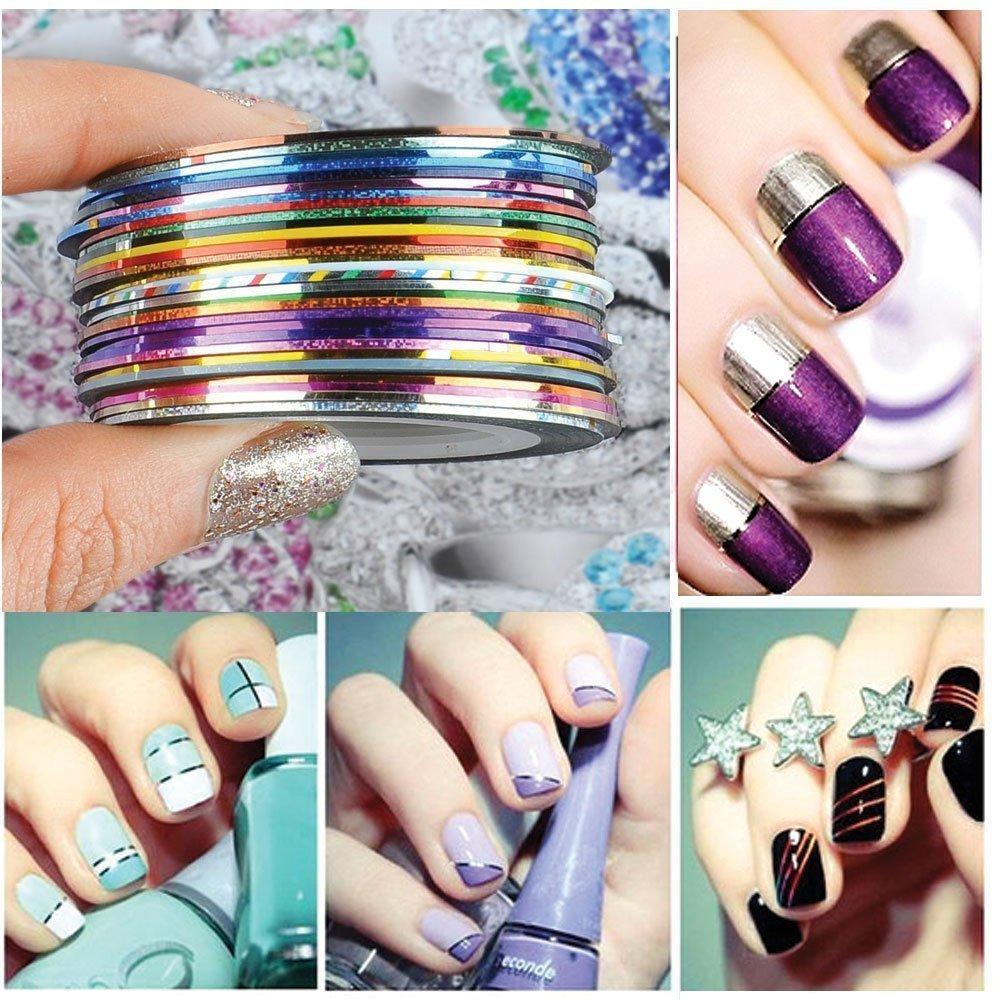 AIUIN 30pcs 30 Colores Pegatinas de Uñas Tiras de Alambre Herramientas de Uñas Franja Nail Art Decoración Sticker DIY Uñas Color Aleatorio: Amazon.es: Hogar