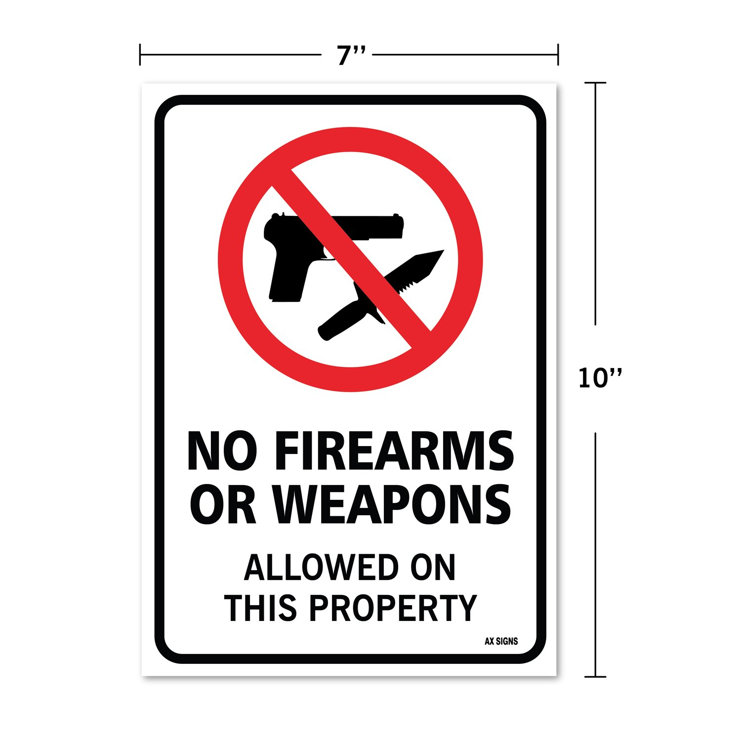 Amazon.com: No armas pistolas o armas Allowed signo, gran ...