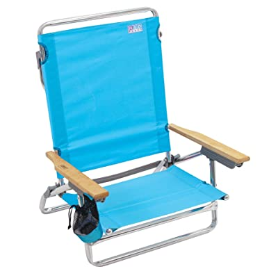 "Rio Brands Rio Beach Classic 5 Position Lay Flat Folding Beach Chair - Turquoise, Classic 5-Position Lay-Flat Beach Chair, 30.8"" x 24.75"" x 29.5"", Bright Turquoise : Sports & Outdoors"