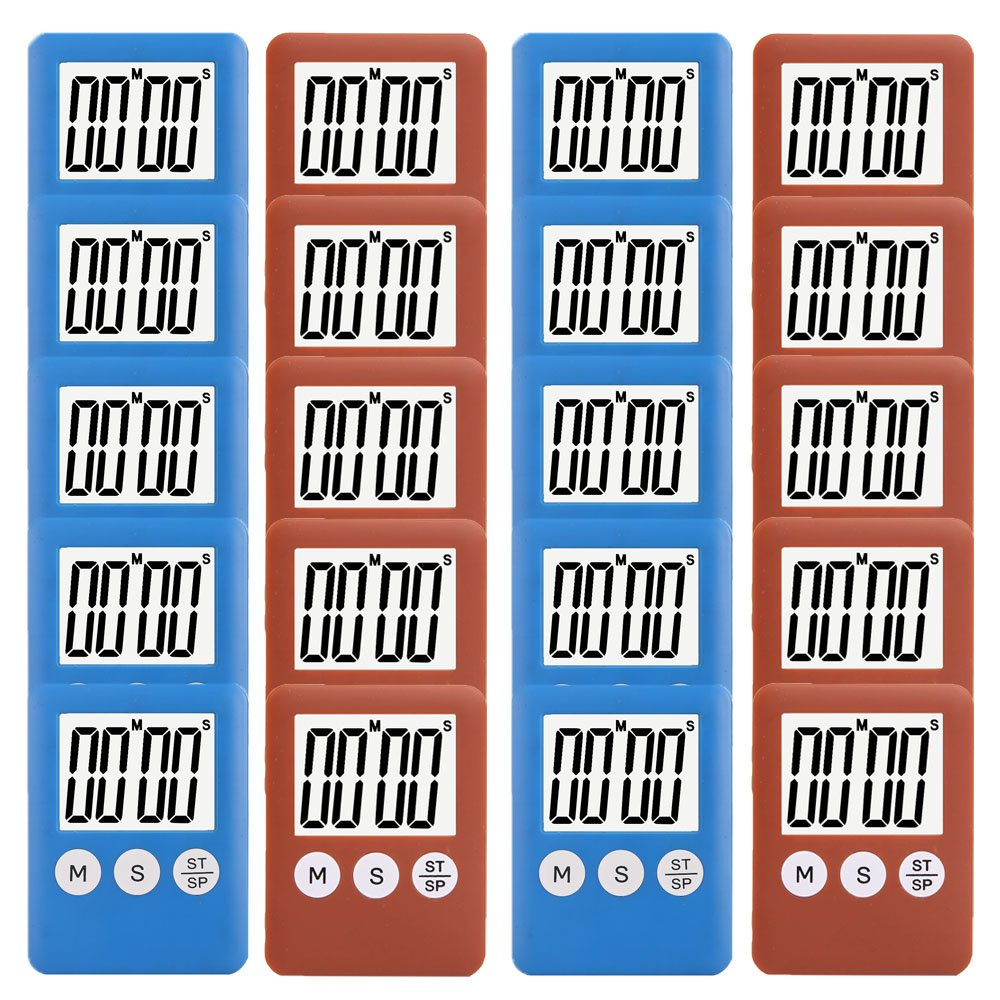 20 Pack Small Mini Digital Kitchen Timer Magnetic Countdown Up Minute Second Timer (10 Brown,10 Blue)