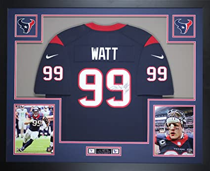 cc325b71487 JJ Watt Autographed Blue Texans Nike Jersey - Beautifully Matted and Framed  - Hand Signed By