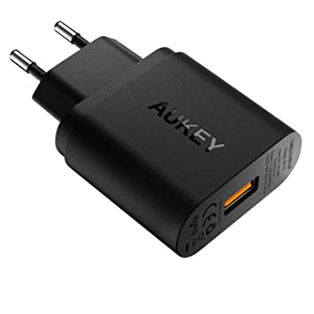 AUKEY Quick Charge 3.0 Cargador de Red 18W [Qualcomm Certificado] Cargador Móvil para Samsung Galaxy S8 / Note 8, LG G5, Nexus, HTC, iPhone XS / ...
