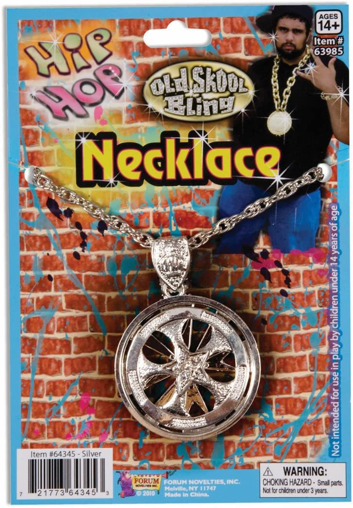 Forum Novelties Hip Hop Silver Spinning Costume Necklace: Amazon ...