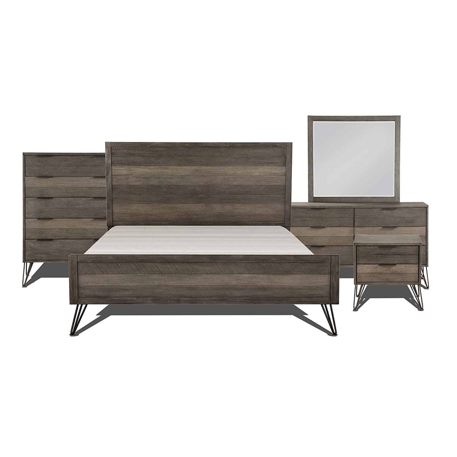Lexicon Bedroom 5-Piece Set, King, Gray