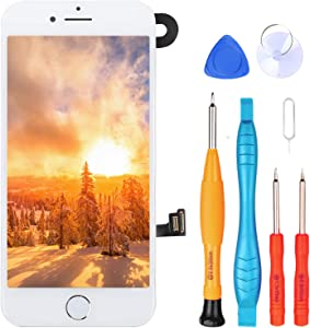 Ayake for iPhone 8 Plus Screen Replacement with Home Button, Full Assembly Retina LCD Touch Display Digitizer with Front Camera+Earpiece Speaker+Proximity Sensor+Tools for A1864, A1897, A1898 (White)