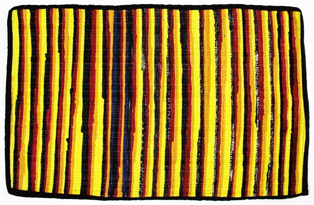 Thai tradition Rug Rag, Hand woven by skilled artisans on Thai traditional old fashioned wood looms, Eco-friendly rug is made from recycled 100 % fabric strips, Pineapple Yellow & multi-color (FL54)