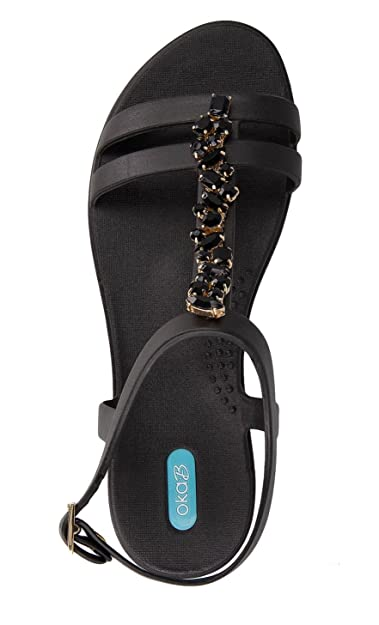 537466838f158 Norah Flip Flop Sandal Shoes with Ankle Strap by OkaB Color Licorice with  Black Stone Strand