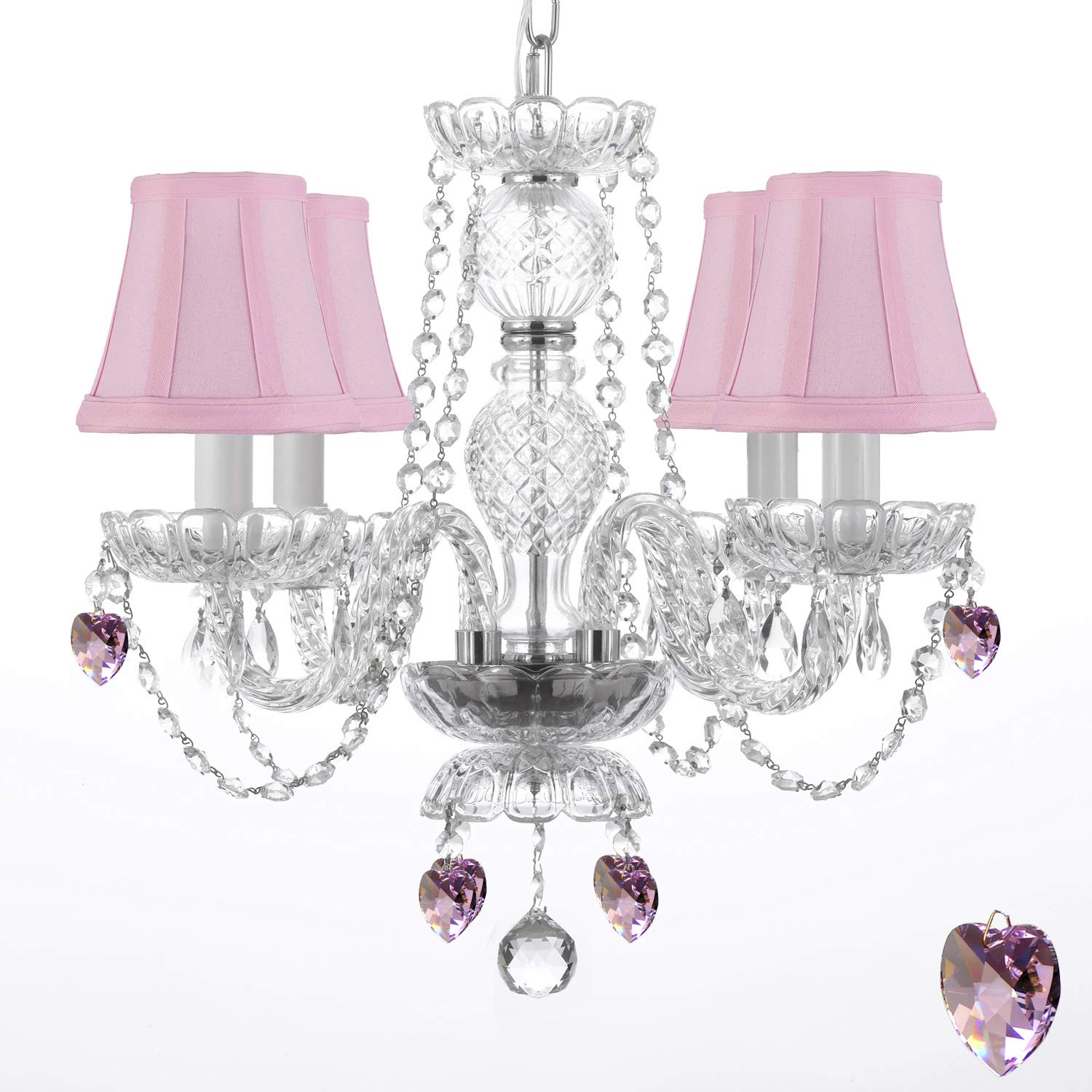 "CHANDELIER LIGHTING W CRYSTAL PINK SHADES & HEARTS H 17"" PERFECT"