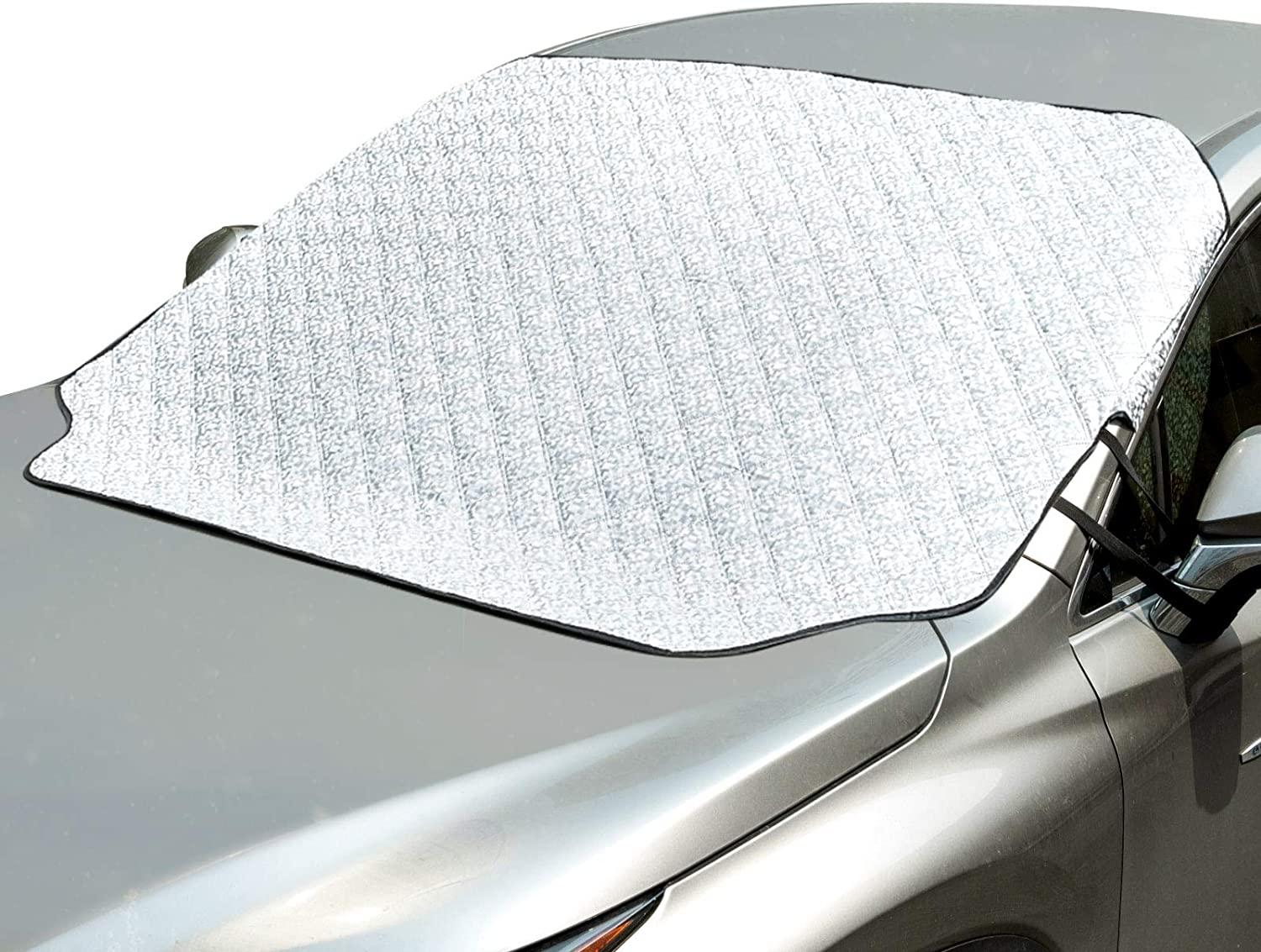 Snow Half Car Cover for Car and Truck POLYESTER SILVER Snow Frost Ice Sunshades Windshield and Side Mirrors Cover for All Weather Frost Resistant to Rain Dust UV Rays Ice 62 x 90