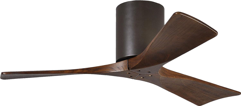 Matthews IR3H-TB-WA-42 Irene 42 Outdoor Hugger Ceiling Fan with Remote Wall Control, 3 Wood Blades, Textured Bronze