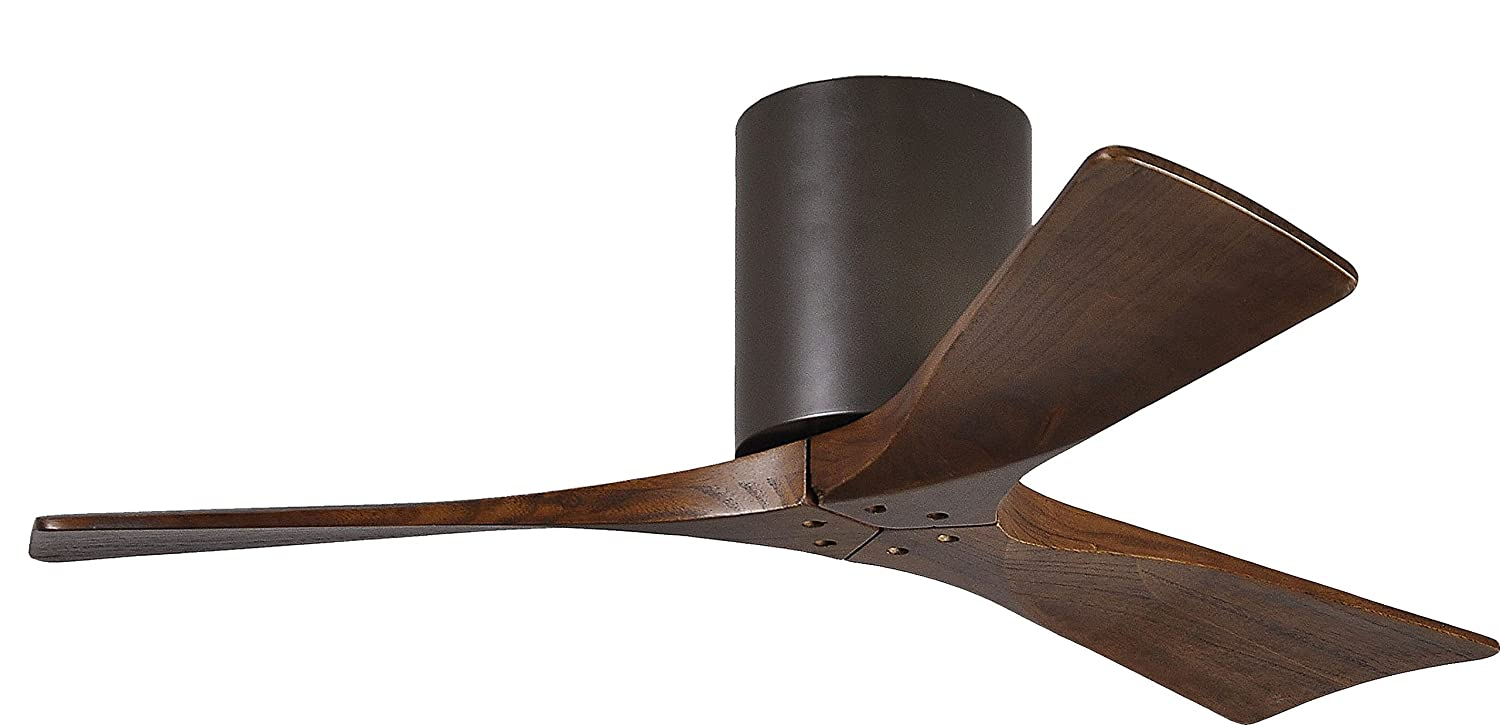 Matthews IR3H-TB-WA-42 Irene 42 Outdoor Hugger Ceiling Fan with Remote Wall Control, 3 Wood Blades, Textured Bronze