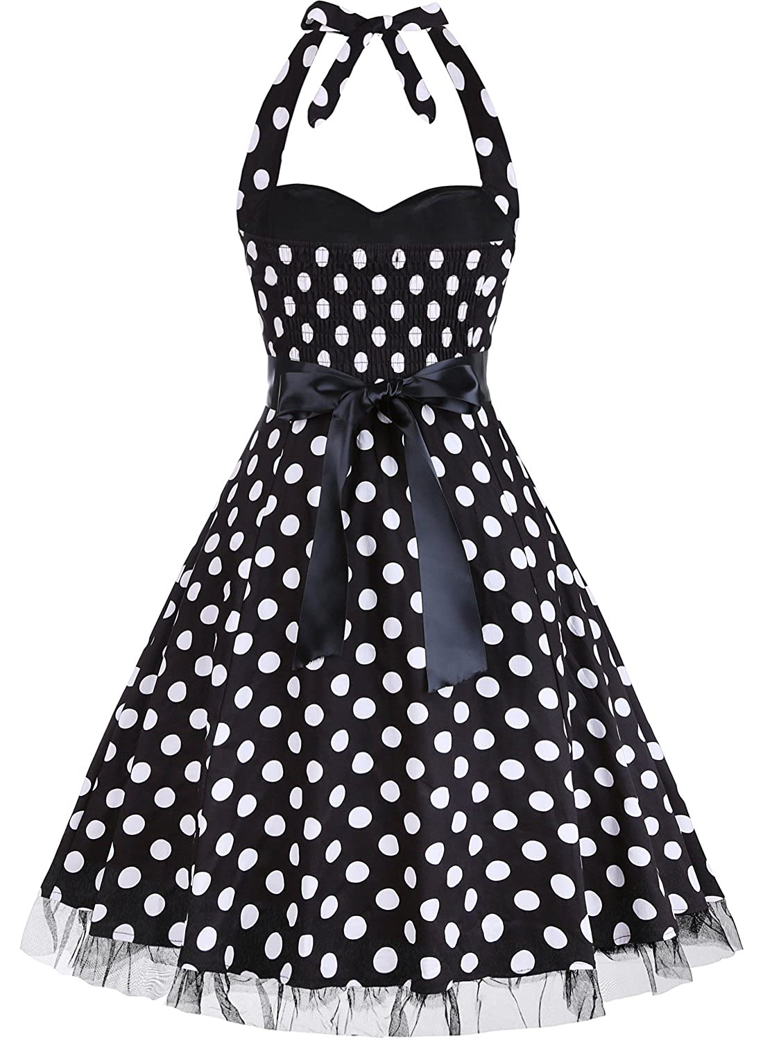 a278139374e OTEN Women s Vintage Polka Dot Halter Dress 1950s Floral Sping Retro  Rockabilly Cocktail Swing Tea Dresses at Amazon Women s Clothing store