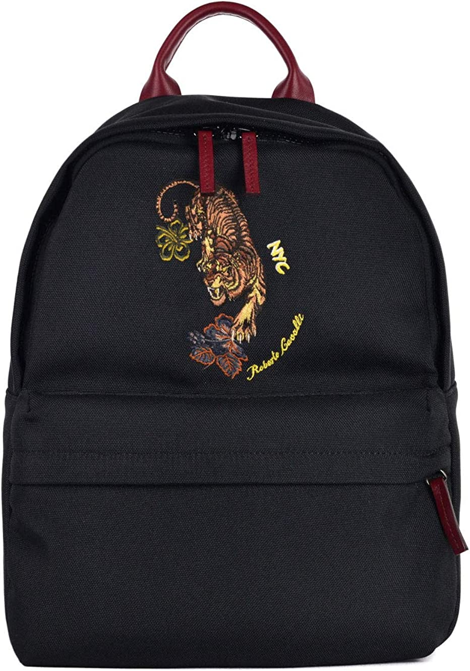 Roberto Cavalli Mens Hawaii Exclusive Black Tiger Embroidered Backpack~RTL$940