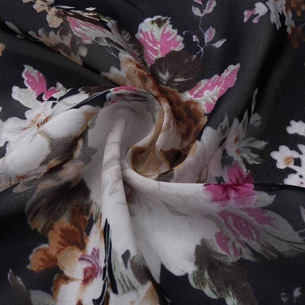 Lazzboy Women Cover-up Plus Size Shrug Kimono Chiffon Floral Flower 3//4 Sleeve Open Front Ladies Long Swimwear Smock