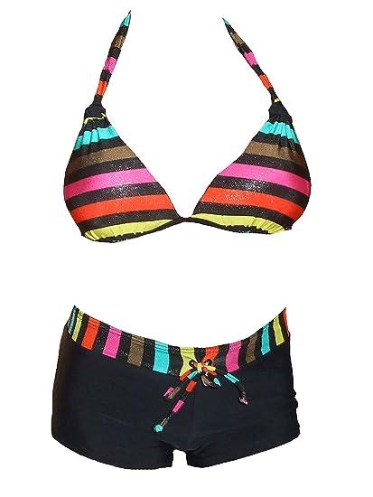 d5b1d64049 Maillot de Bain Femme 2 pièces Shorty Bikini Noir et Multicolore: Amazon.fr:  Vêtements et accessoires