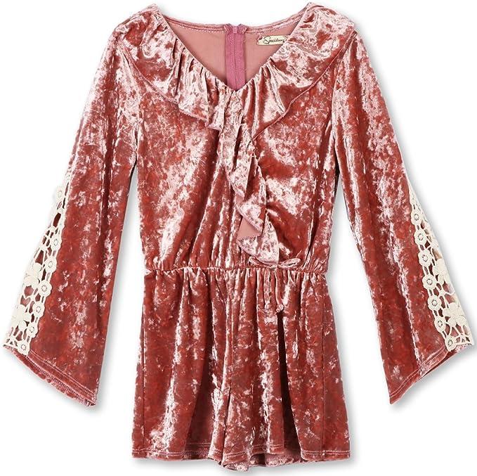 60s 70s Kids Costumes & Clothing Girls & Boys Speechless Girls Flutter Front Crushed Velvet Romper $27.99 AT vintagedancer.com
