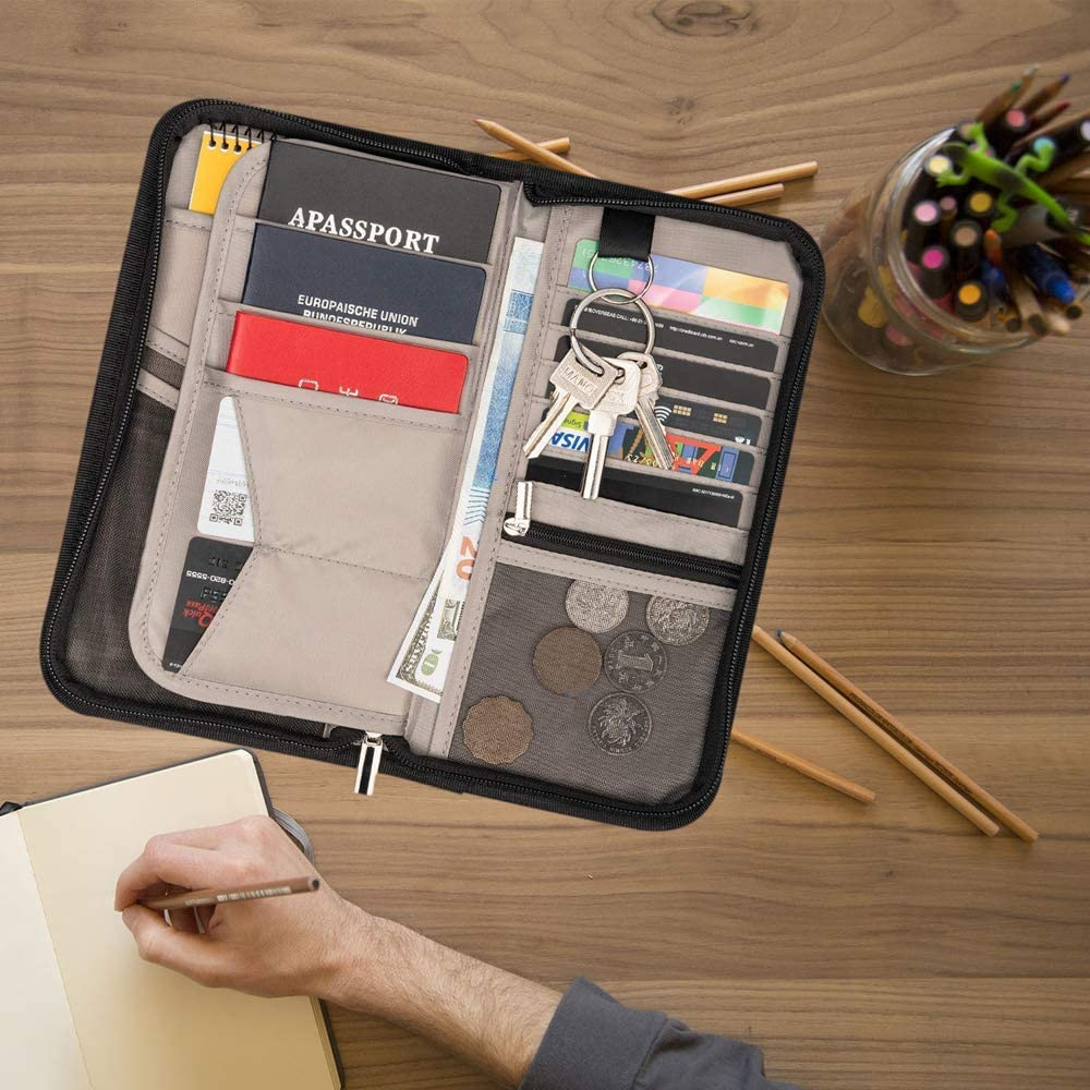 Travel Wallet with RFID Blocking Family Travel Passport Holder Document Organizer Bag Portable Walle for Men fathers day for dad