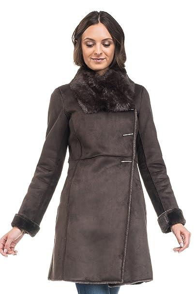 SALSA Abrigo largo tipo borrego con pelo interior: Amazon.es: Ropa y accesorios