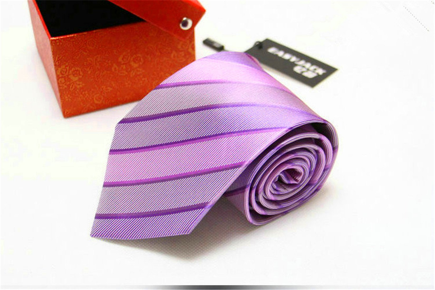 Men's Silk Tie Jacquard Weave Stripe Waterproof Collection Suit Necktie 3.54'' Business Formal Wedding Neckwear Gift (25 Colors Available)