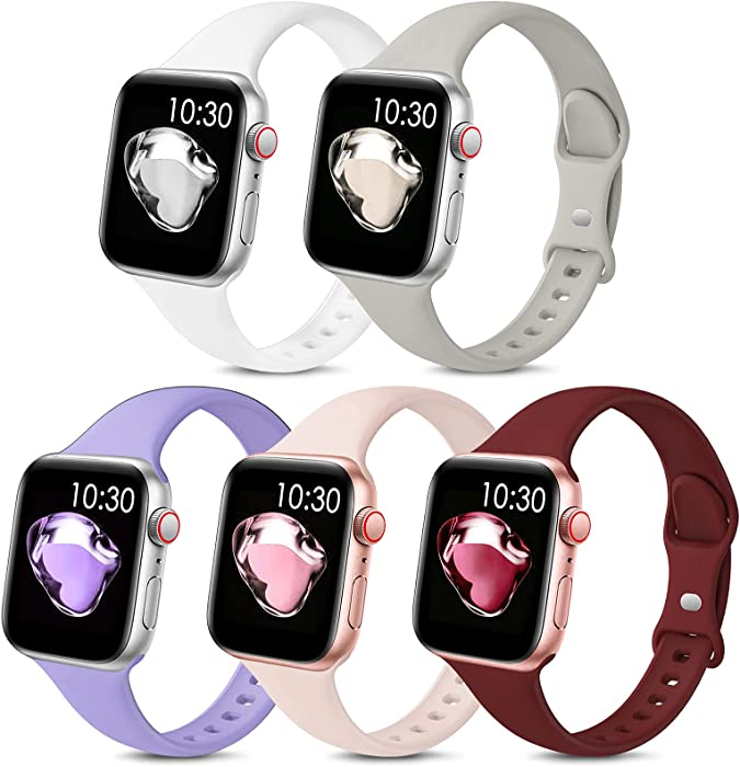 5 Pack Sport Slim Bands Compatible with Apple Watch Bands 38mm 40mm 42mm 44mm Women Men,Thin Silicone Soft Replacement Strap Wristband for iWatch Series 6 5 4 3 2 1 SE(38MM/40MM,Color5)