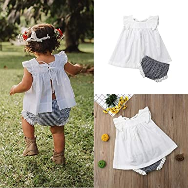 b1001db12438b Amazon.com: Matoen Newborn Baby Girl Summer Skirt Plaid Shorts Outfit  Clothes Princess Dress+Plaid Pants Shorts Set (3M-24M): Clothing