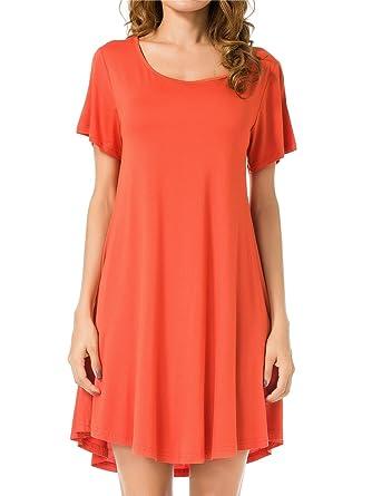 1ffd32705c483 JollieLovin Women's Tunic Top Casual Short Sleeve Swing Loose T-Shirt Dress  (Brick Red