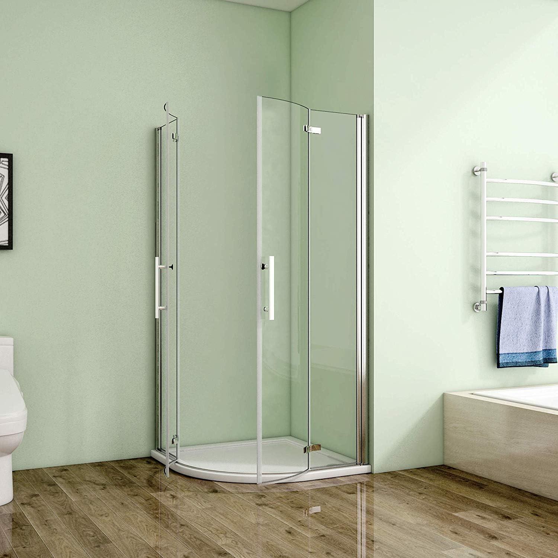 Redondo ducha Mampara de ducha Cuarto circular (doble puerta plegable ducha puerta hpxxv2: Amazon.es: Bricolaje y herramientas