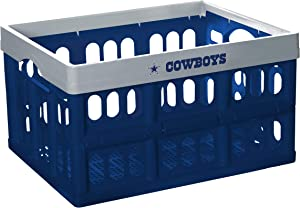 Fabrique Innovations NFL Collapsible Stackable Storage Crates with Handles (Dallas Cowboys)