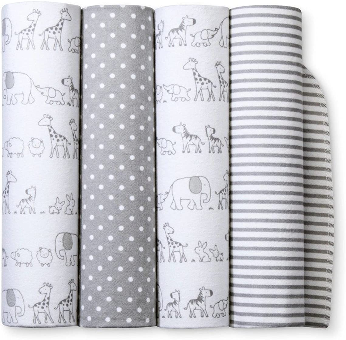 Flannel Receiving Baby Blankets Two by Two 4pack - Cloud Island - Gray, 30 inches L x 30 inches W