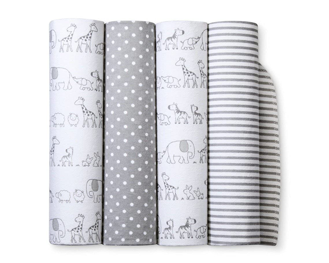 Flannel Receiving Baby Blankets Two by Two 4pack Cloud Island Gray SG/_B073XC44BD/_US