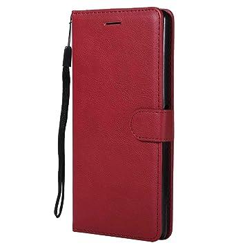 DENDICO Funda Sony Xperia XA Ultra, Flip Libro Cuero Carcasa, Diseño Clásico Funda Plegable Cover para Sony Xperia XA Ultra - Rojo