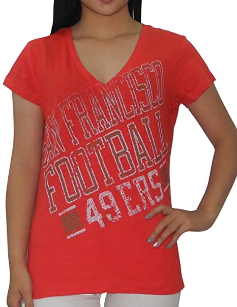 cc1be0088da SAN Francisco 49ERS Athletic V-Neck T Shirt (Vintage Look) for Womens L