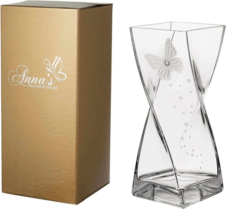 Jarrón de cristal hecho a mano con diseño de mariposa y mariposa, diseño de mariposa, color dorado y transparente, 30 cm