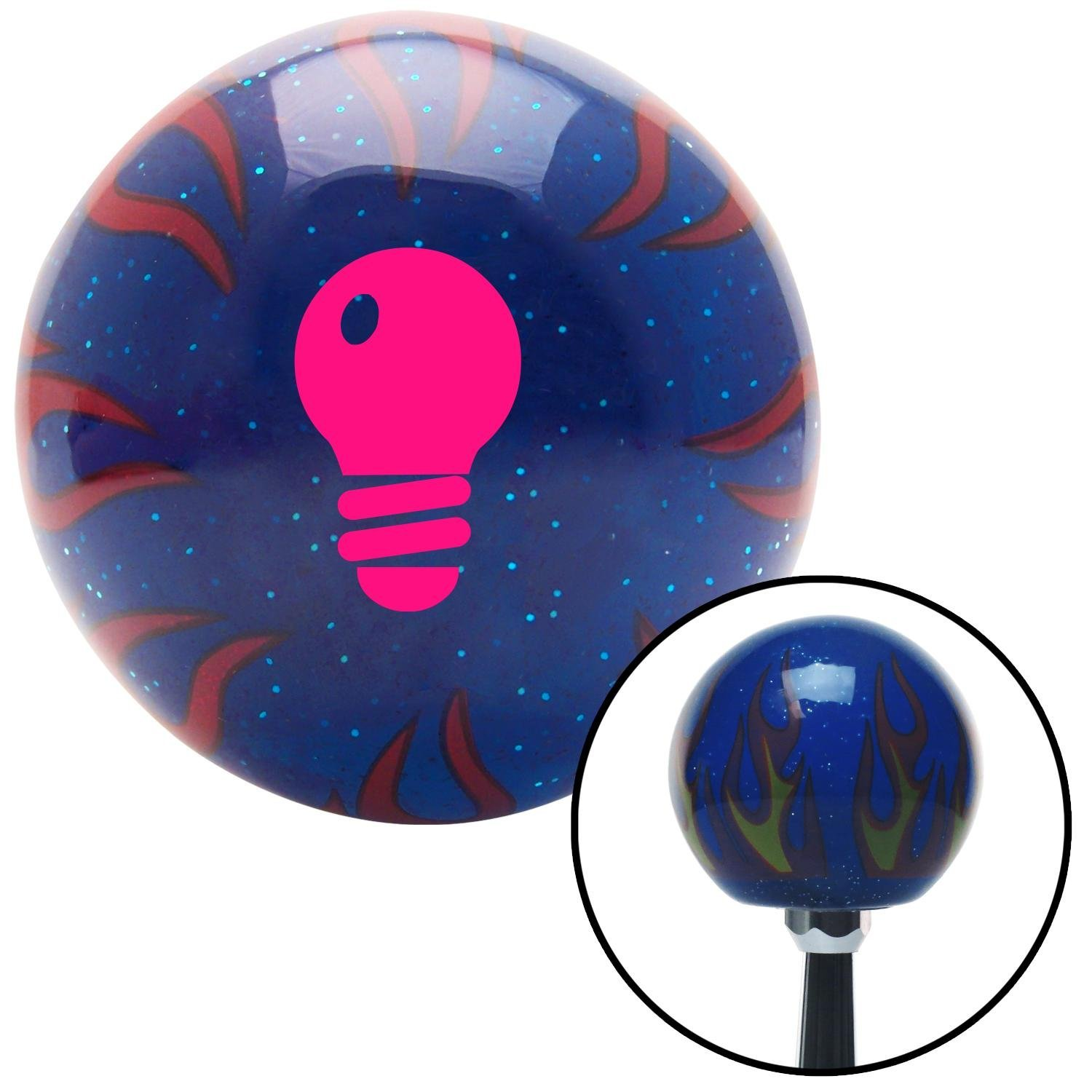 American Shifter 247017 Blue Flame Metal Flake Shift Knob with M16 x 1.5 Insert Pink Light Bulb