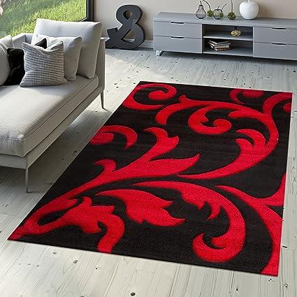 Tappeto Di Design Tappeto Per Soggiorno Levante Moderno Con Motivo Floreale  Rosso Nero, Größe:80x150 cm