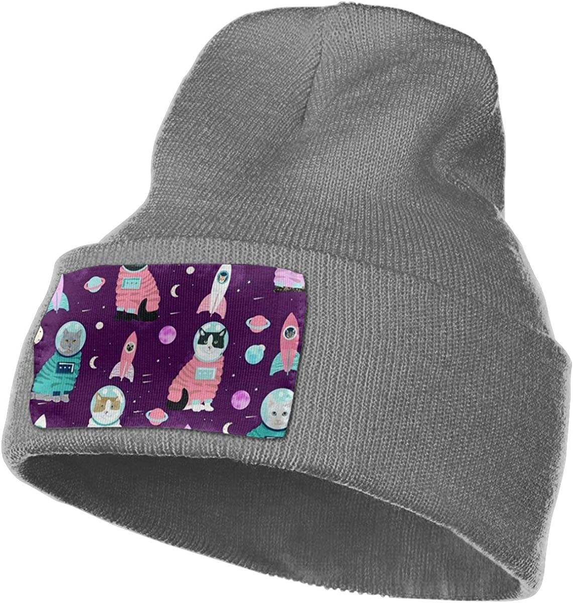 ONHIM Space Cat Men Women Stretchy Knit Beanie Hat Slouchy Personalized Beanie