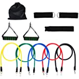 Resistance Bands, Vitalismo Exercise Bands Rubber Fitness Workout Bands with Door Anchor Ankle Strap Carrying Case for Home Gyms Physical Therapy (5 Colors)