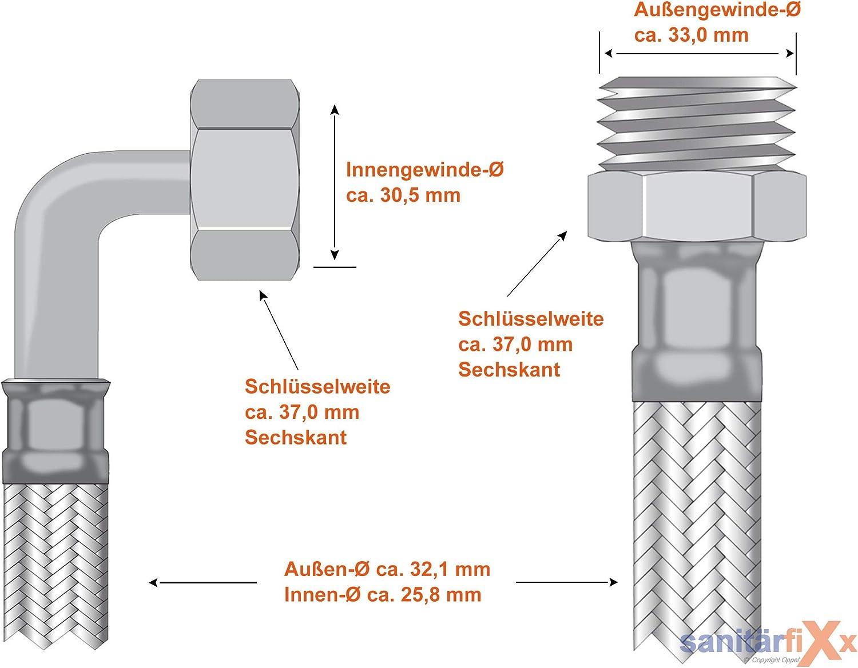 SFX/® Panzerschlauch DN25-1 AG x 1 /ÜM 90/°-Bogen Trinkwasser Flexschlauch Edelstahl 200 cm