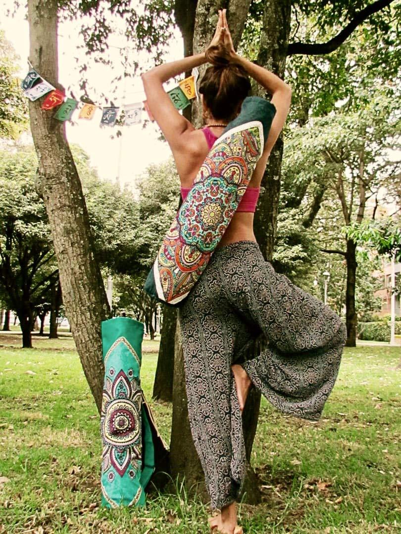 Handmade Yoga Mat Bag Tadasana, Yoga Mat Carrier (Dark Blue)