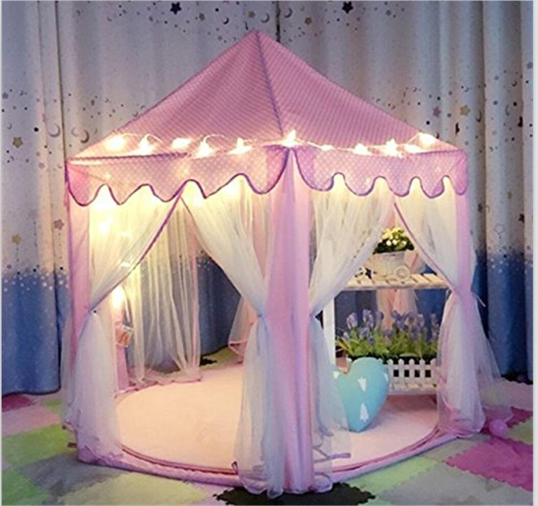 IsPerfect Kids Indoor Princess Castle Play Tents,Outdoor Large Playhouse With Led Lights,Perfect Outdoor Child Toys - 55