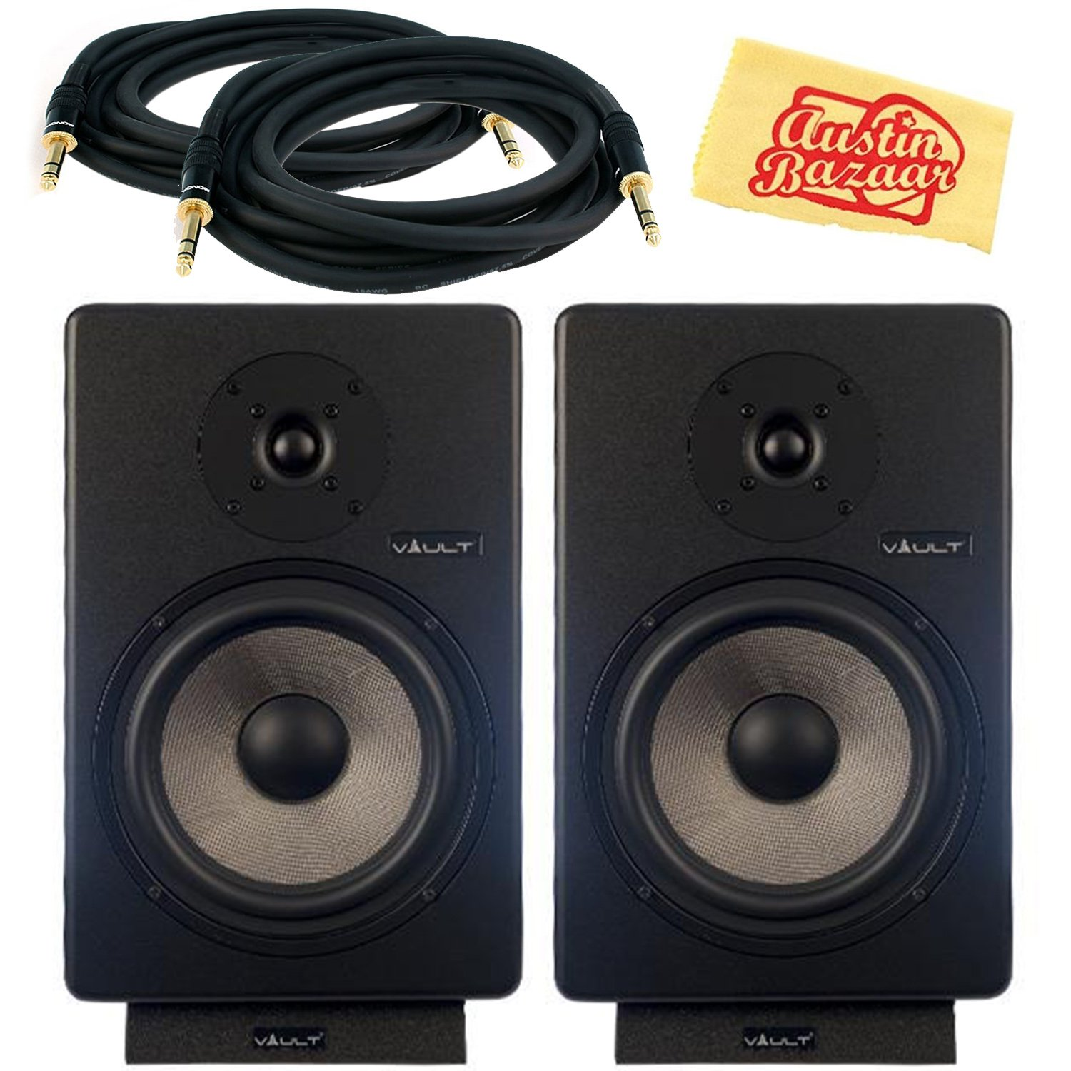 Vault C8 8-Inch Powered Studio Reference Monitor Pair Bundle with 2 Monitors, Cables, and Austin Bazaar Polishing Cloth