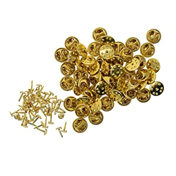 50 Sets Gold Badge Hat Pin Metal Tie Back Lapel Butterfly Clasps Fastener