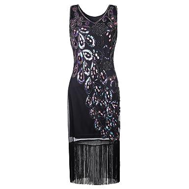 Damen Gatsby Kleid Vintage 1920er Flapper Kleider mit Pailletten ...