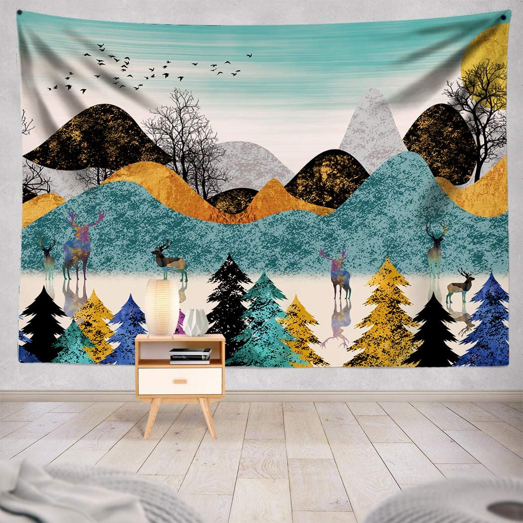 Colorful Mountains Tapestry Forest Tree Tapestry Dreamy Reindeers Tapestry Abstract Deers Wall Tapestry Home Decor Bedroom Living Room in 80X60 inch